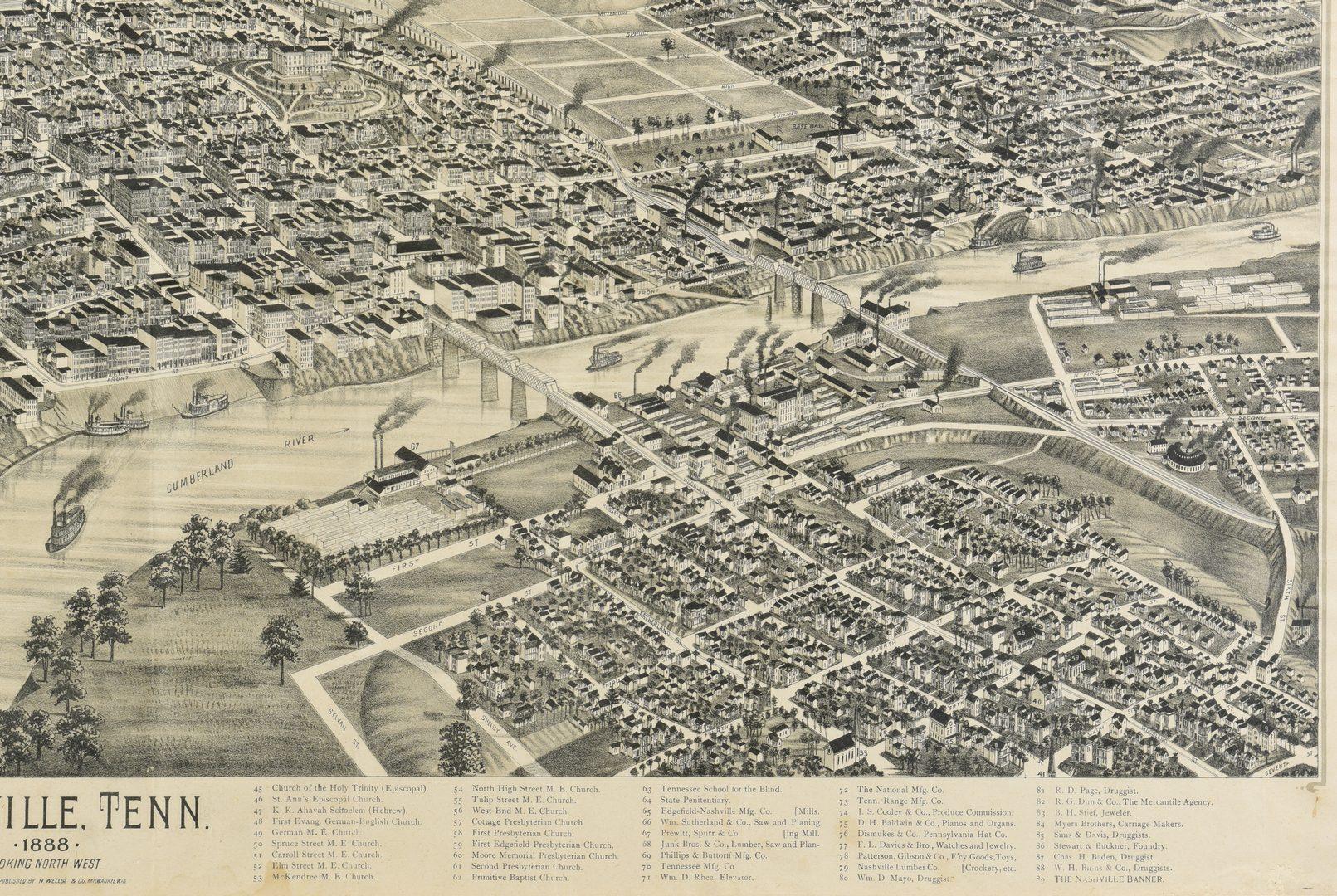 Lot 259: 1888 Birdseye View Nashville Map plus 2 Streetcar Maps