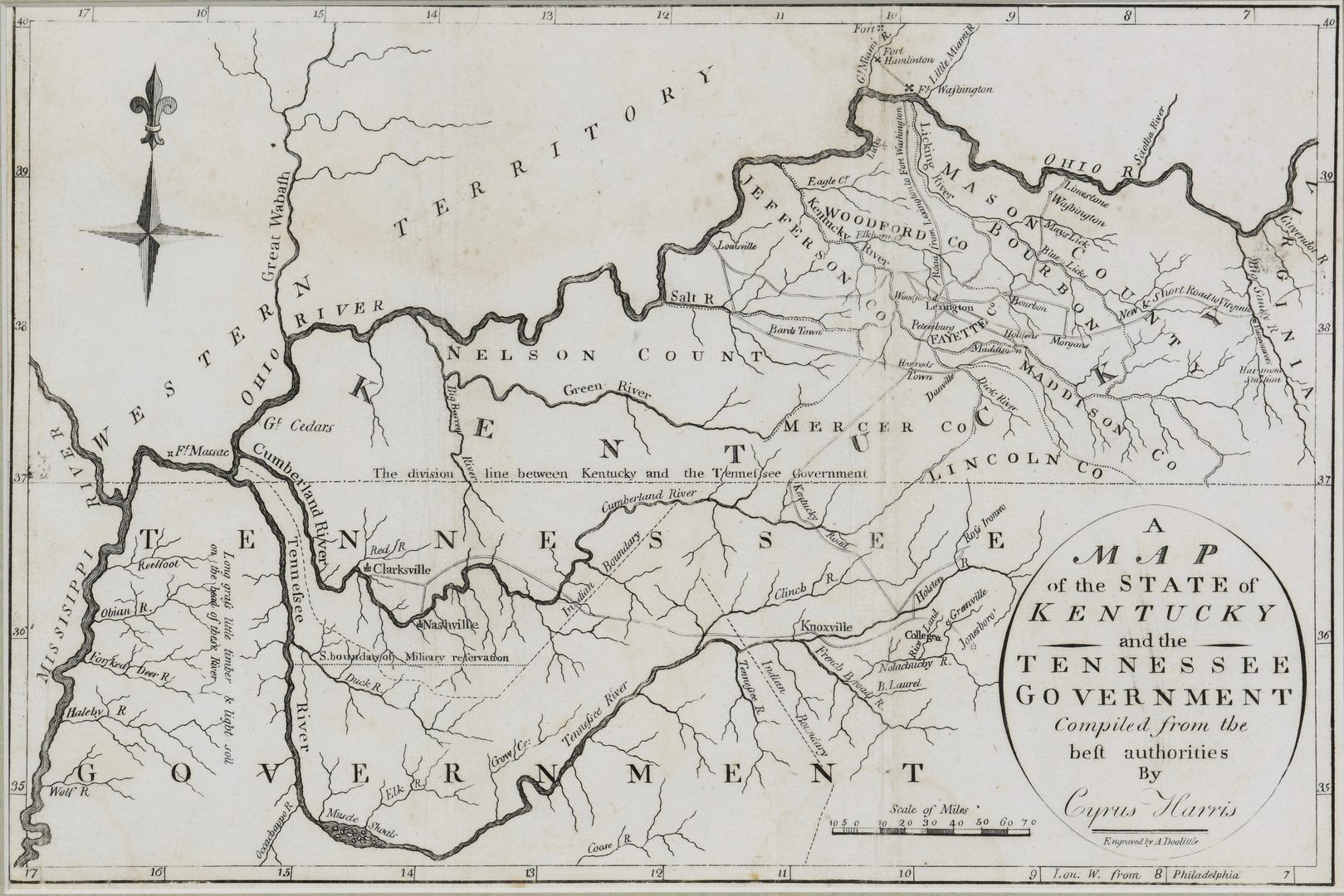 Lot 261: Kentucky and Tennessee Map, 1796 Harris
