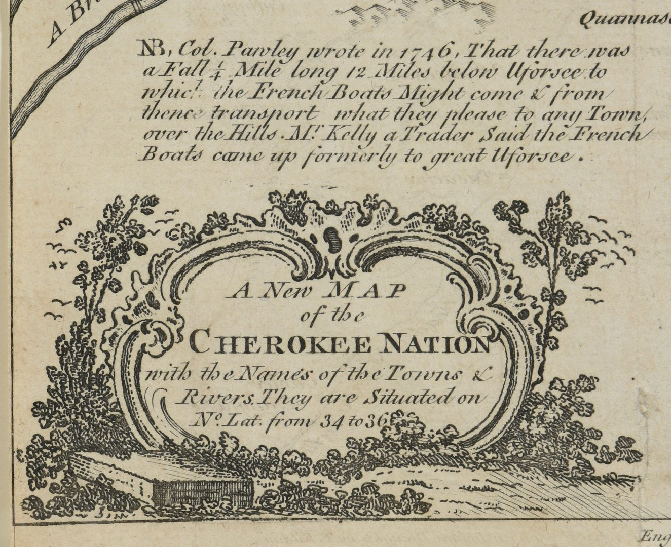 Lot 262: A New Map of the Cherokee Nation, 18th C.
