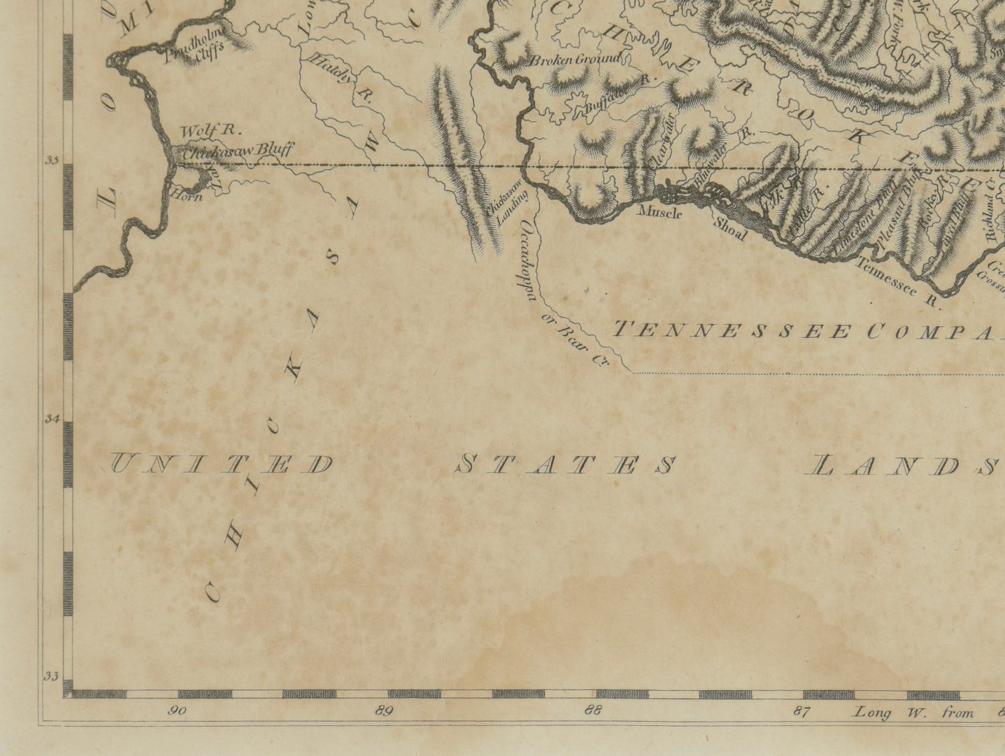 Lot 264: Tennessee Map, Samuel Lewis & Alexander Lawson, 1804