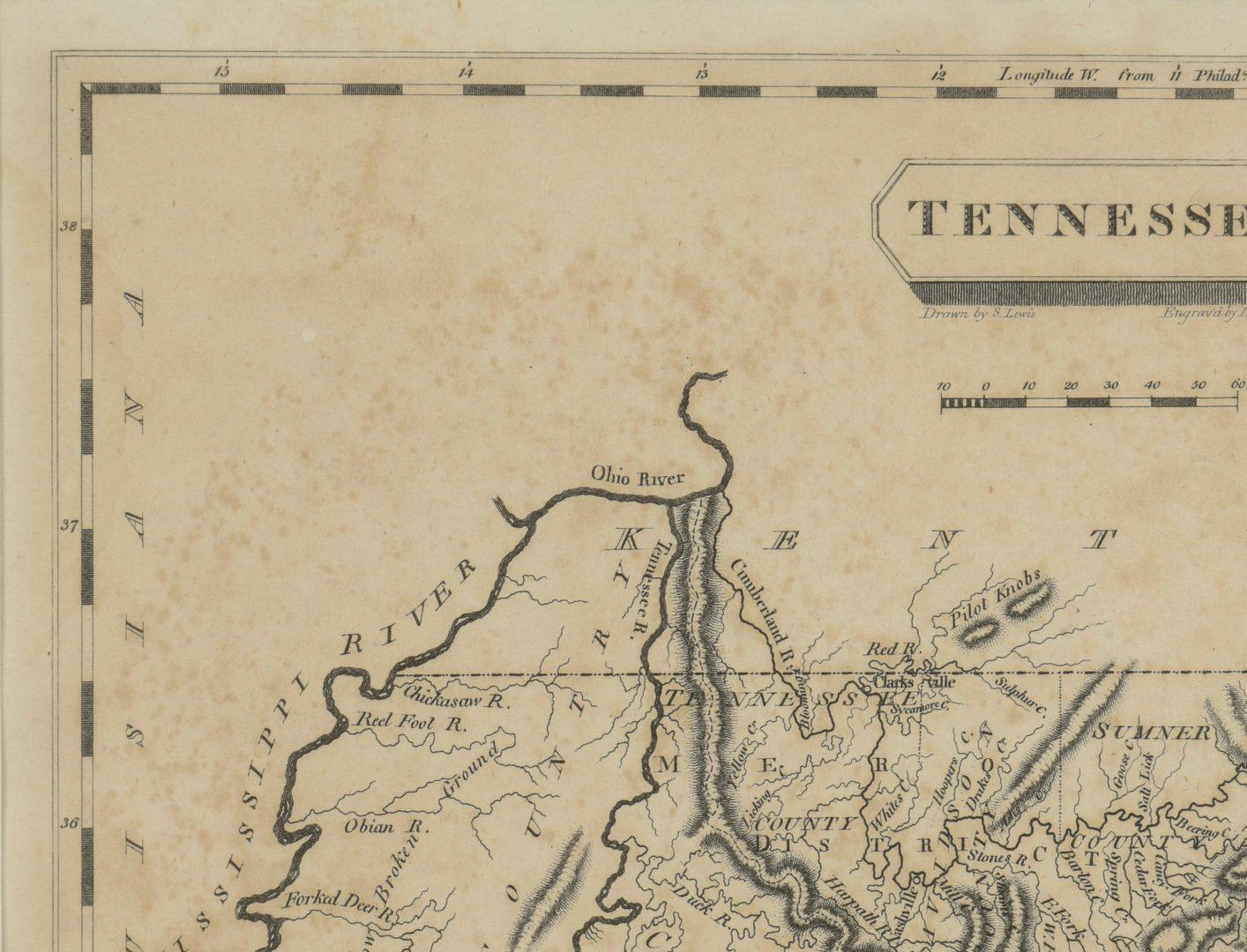 Lot 264: Tennessee Map, Samuel Lewis & Alexander Lawson, 1804