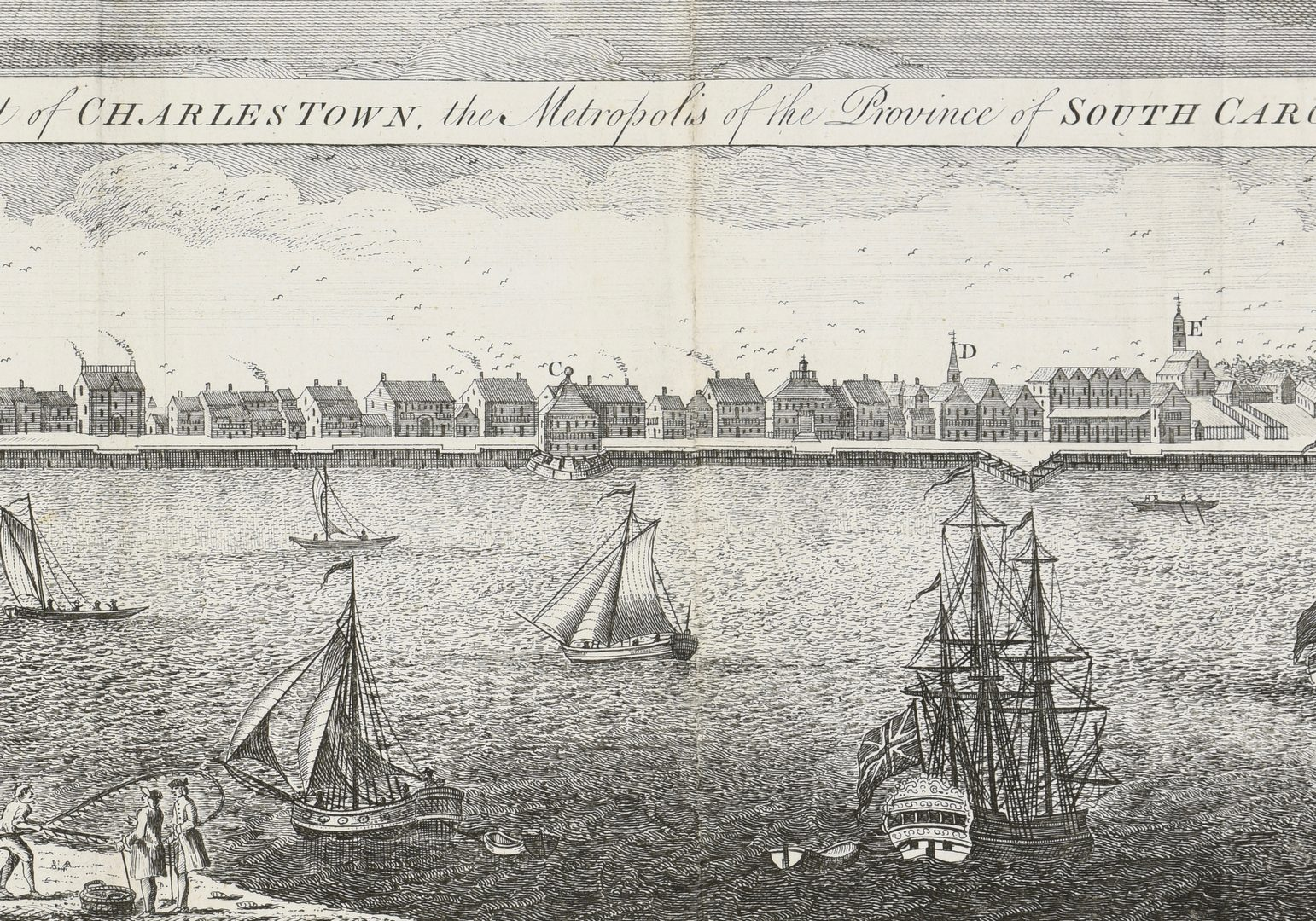 Lot 266: Early English Engraved Map of Charleston, 1779