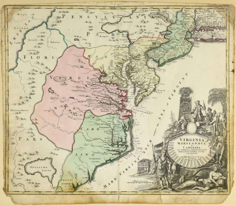 Lot 267: Johann Baptist Homann map of Virginia, Maryland, and Carolina, 1714