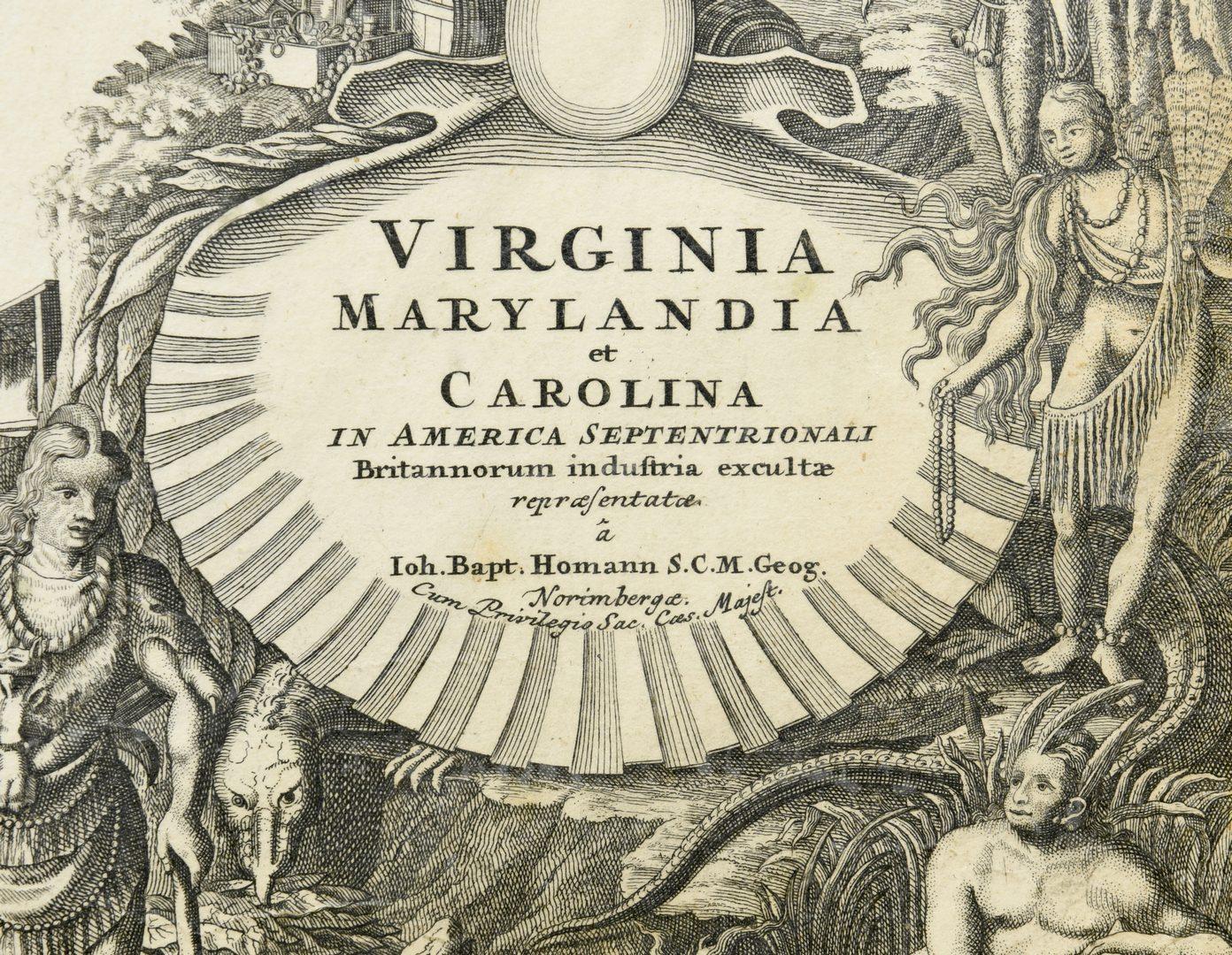 Lot 267: Johann Baptist Homann map of Virginia, Maryland, and Carolina, 1714