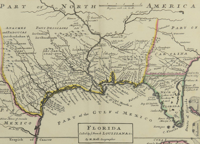 Lot 268: 18th c. Florida Map – Herman Moll