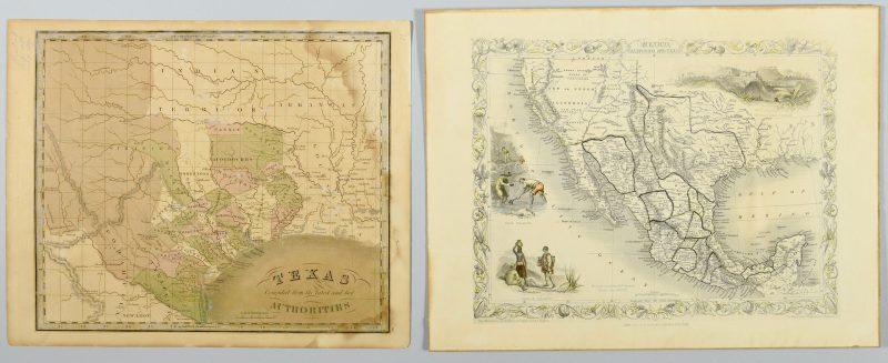 Lot 269: 2 Texas Maps inc. Greenleaf, Tallis