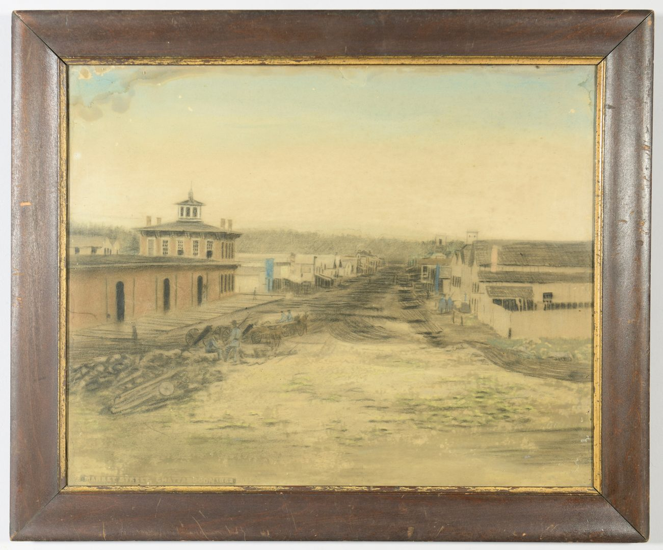 Lot 271: Civil War Pastel and Charcoal Chattanooga Scene