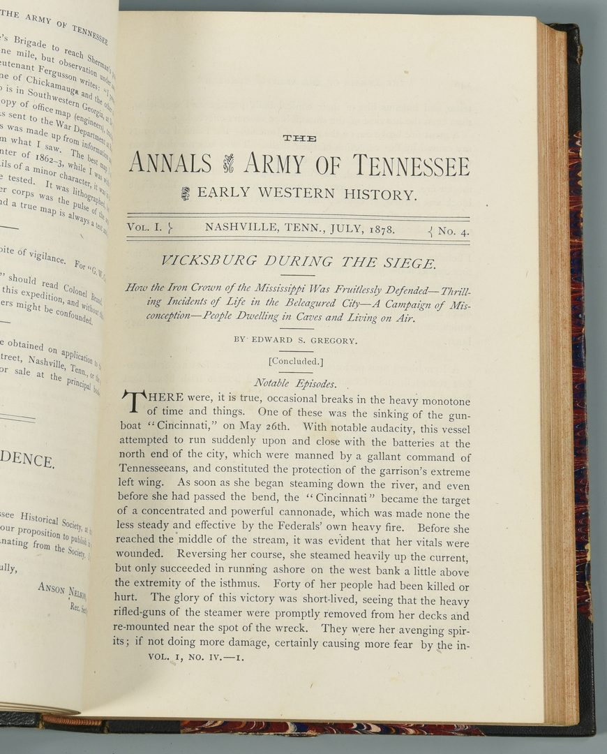 Lot 272: First Ed. Annals of the Army of Tennessee