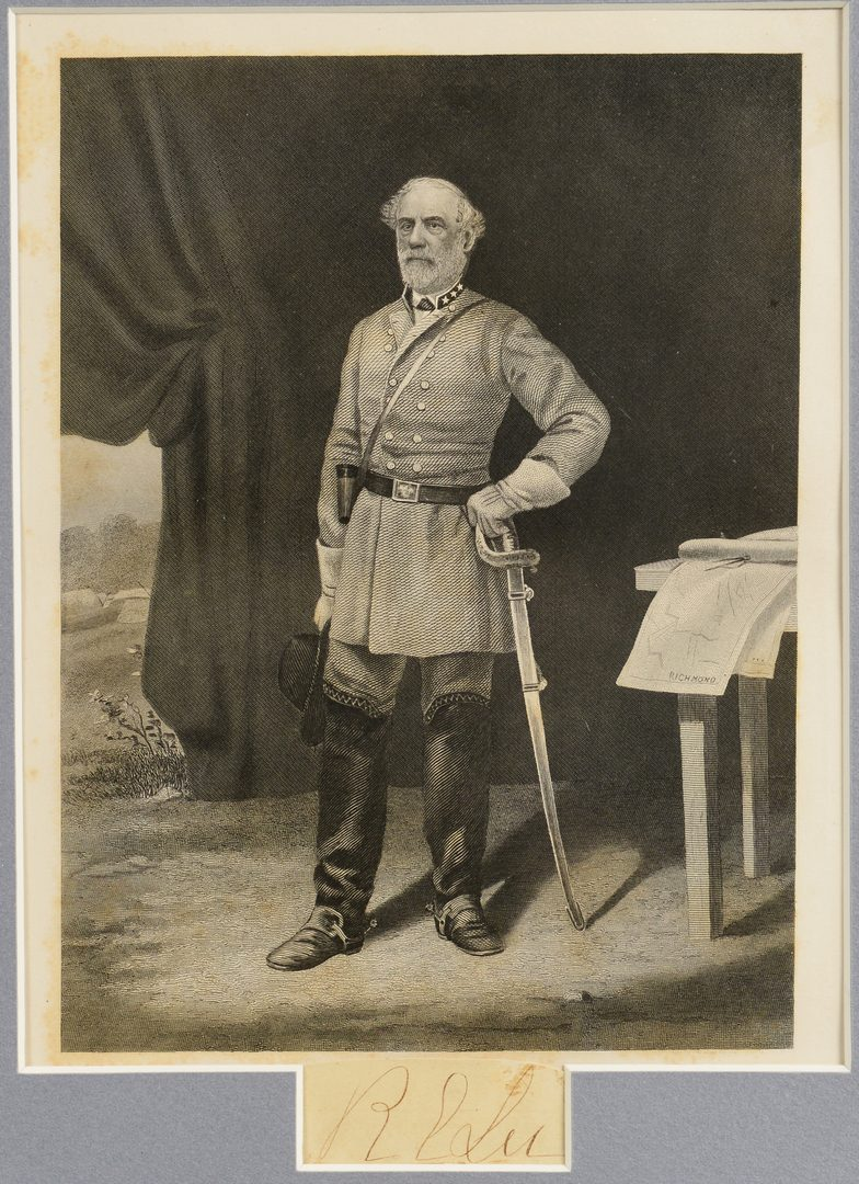 Lot 277: Authenticated Robert E. Lee Cut Signature and Engraving