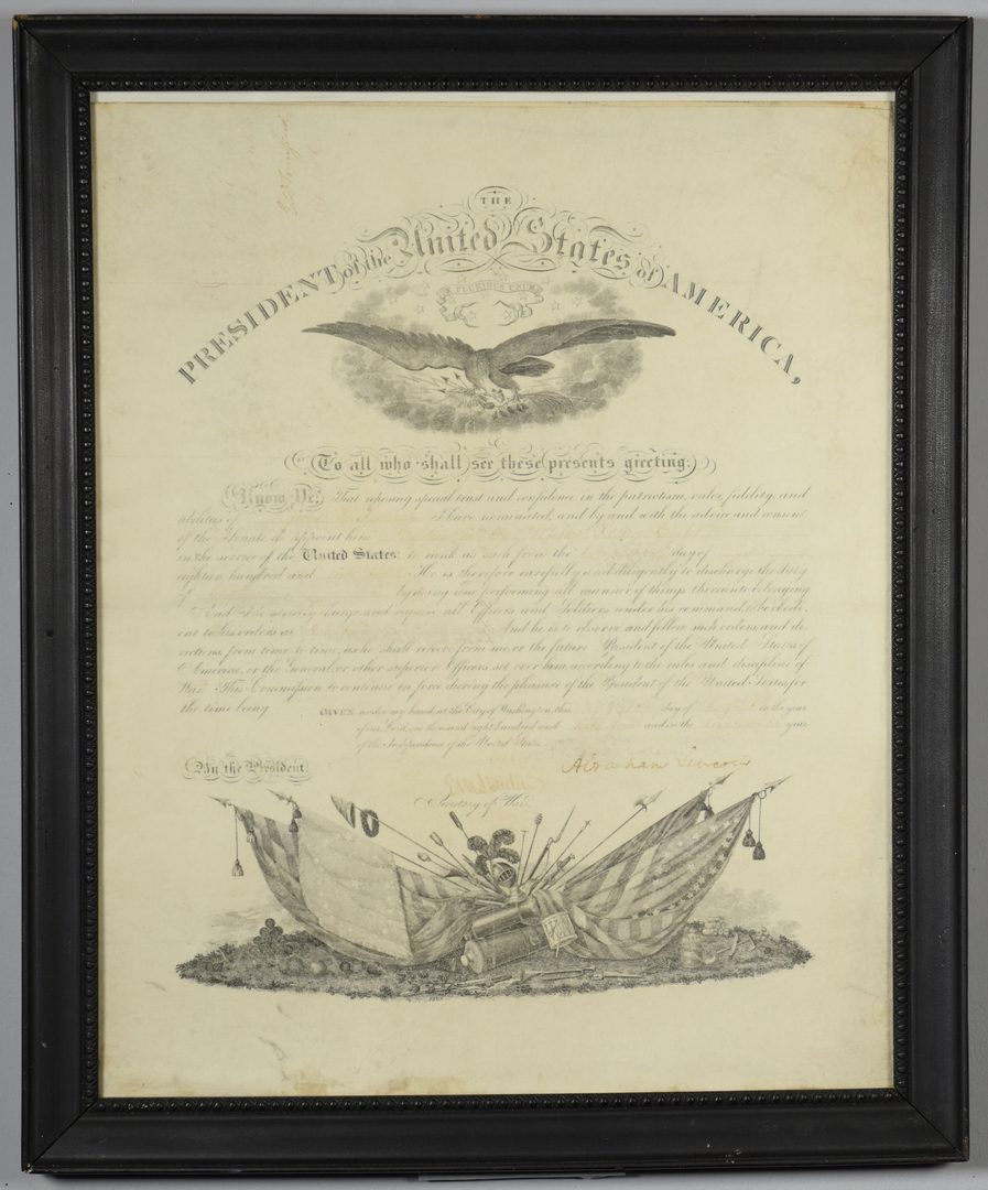 Lot 279: Abraham Lincoln Signed War Commission Document