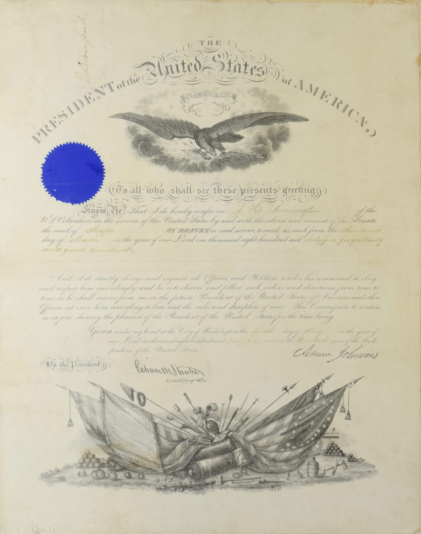 Lot 280: Andrew Johnson War Commission Document