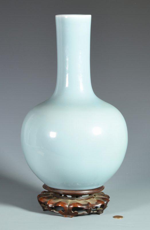 Lot 28: Large Pale Blue Chinese Bottle Form Vase