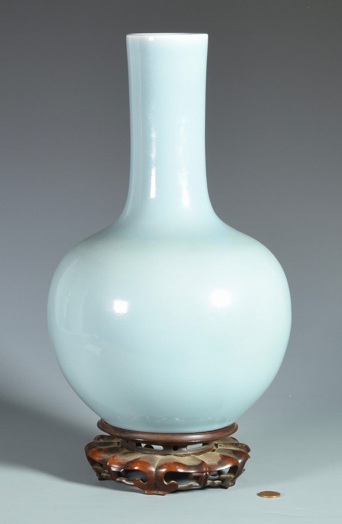 Lot 28: Large Pale Blue Chinese Bottle Form Vase