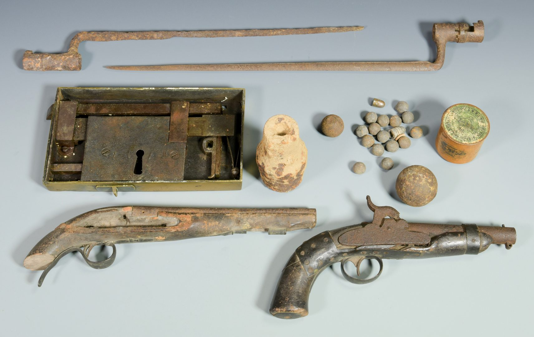 Lot 296: Devon Farm Civil War Dug Artifacts and Lock