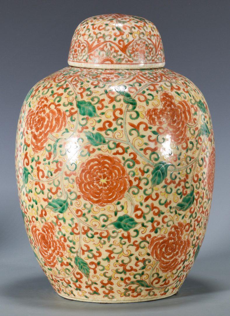 Lot 29 Large Chinese Famille Verte Ginger Jar