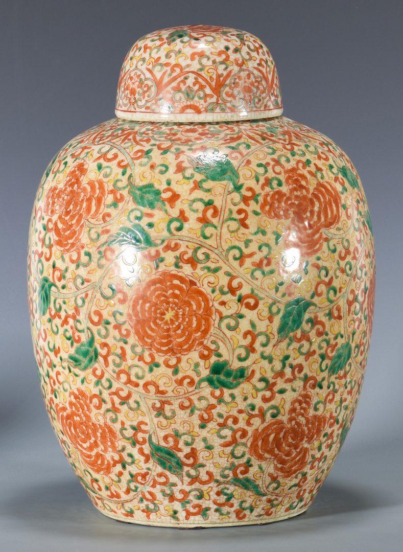 Lot 29: Large Chinese Famille Verte Ginger Jar