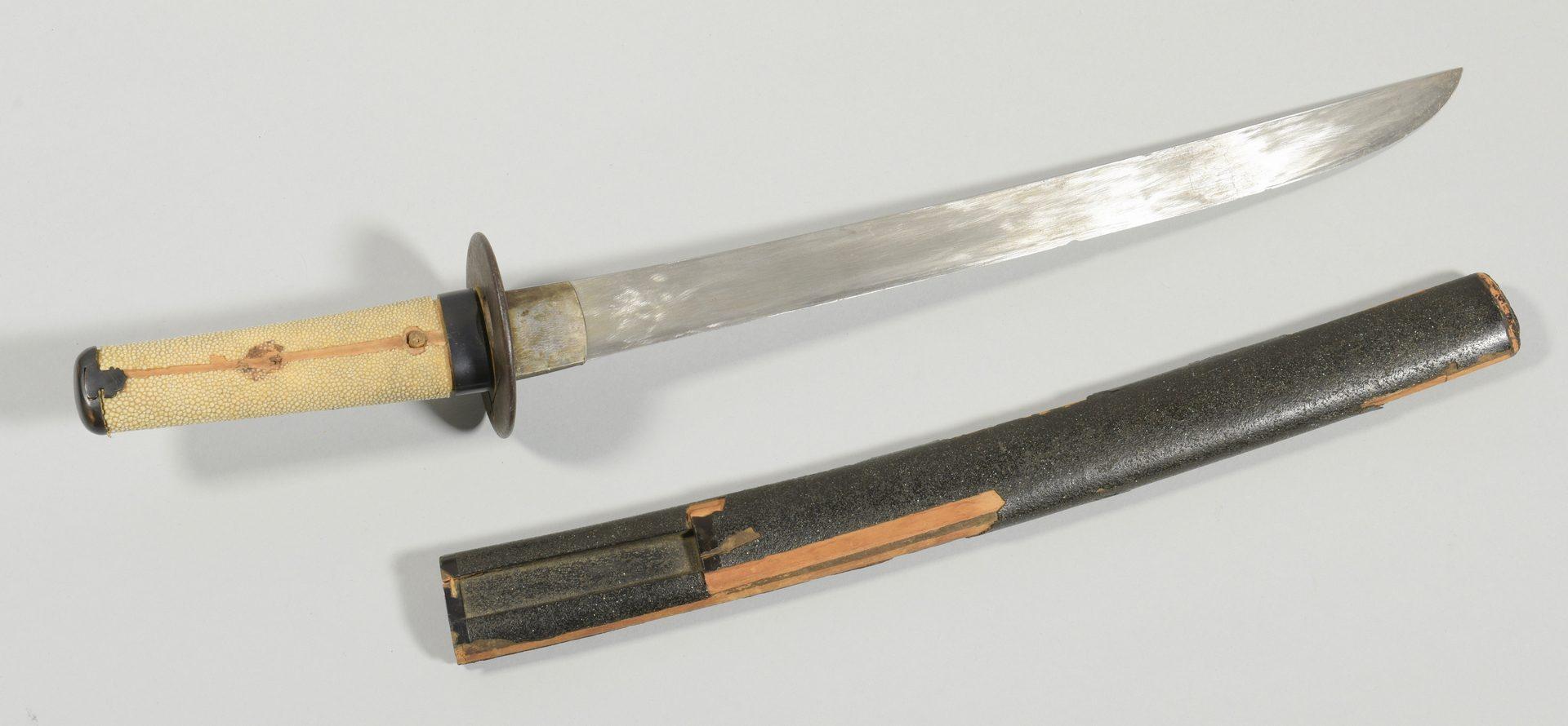 Lot 312:  Japanese Wakizashi Sword w/ Early Tsuba