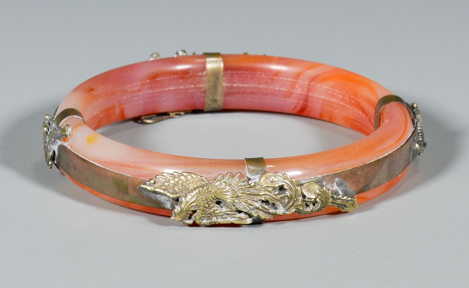 Lot 320: Chinese Dragon Bangle, Bronze Censer & Bookends