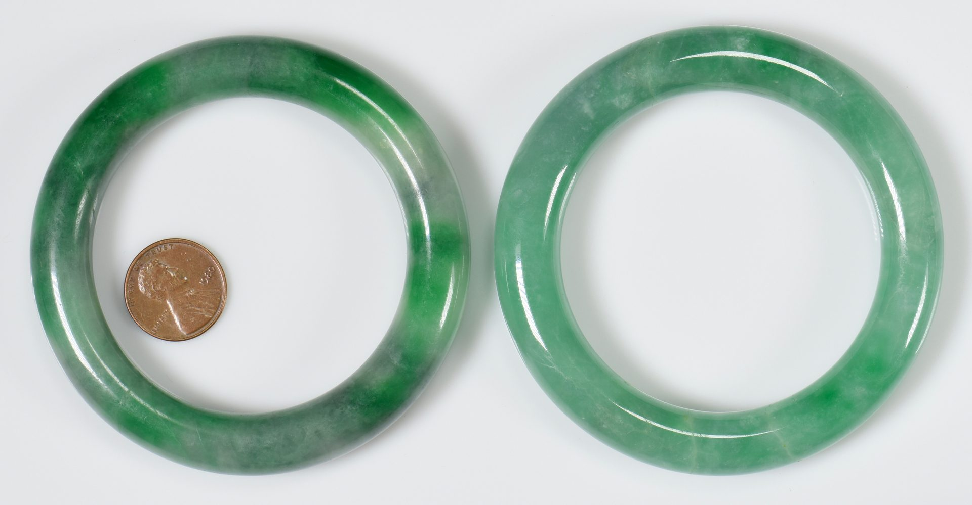 Lot 322: 2 Chinese Carved Jade Bangles
