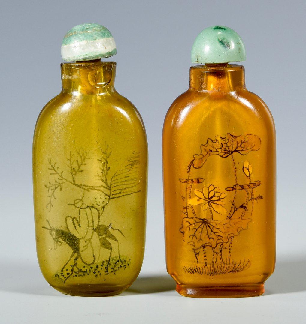 Lot 325: Pr. Peking Glass Vases & 4 Snuff Bottles