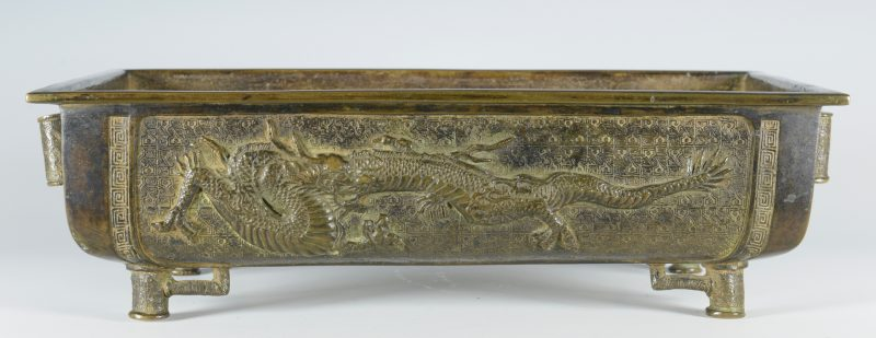 Lot 326: Bronze Jardiniere, Dragon Decoration