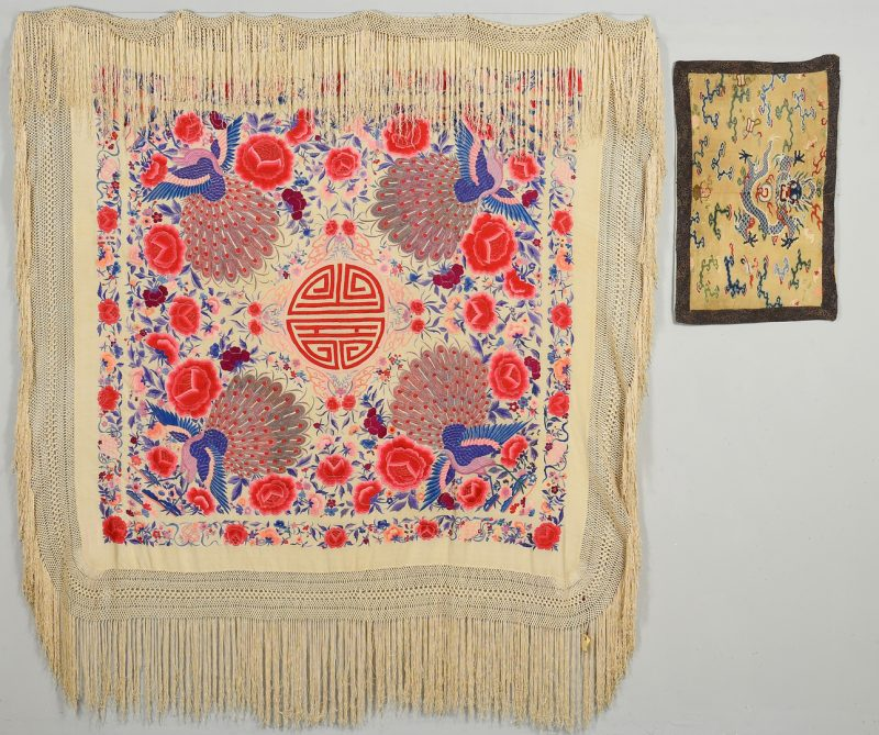 Lot 32: 2 Chinese Silk Textiles- Shawl & Badge