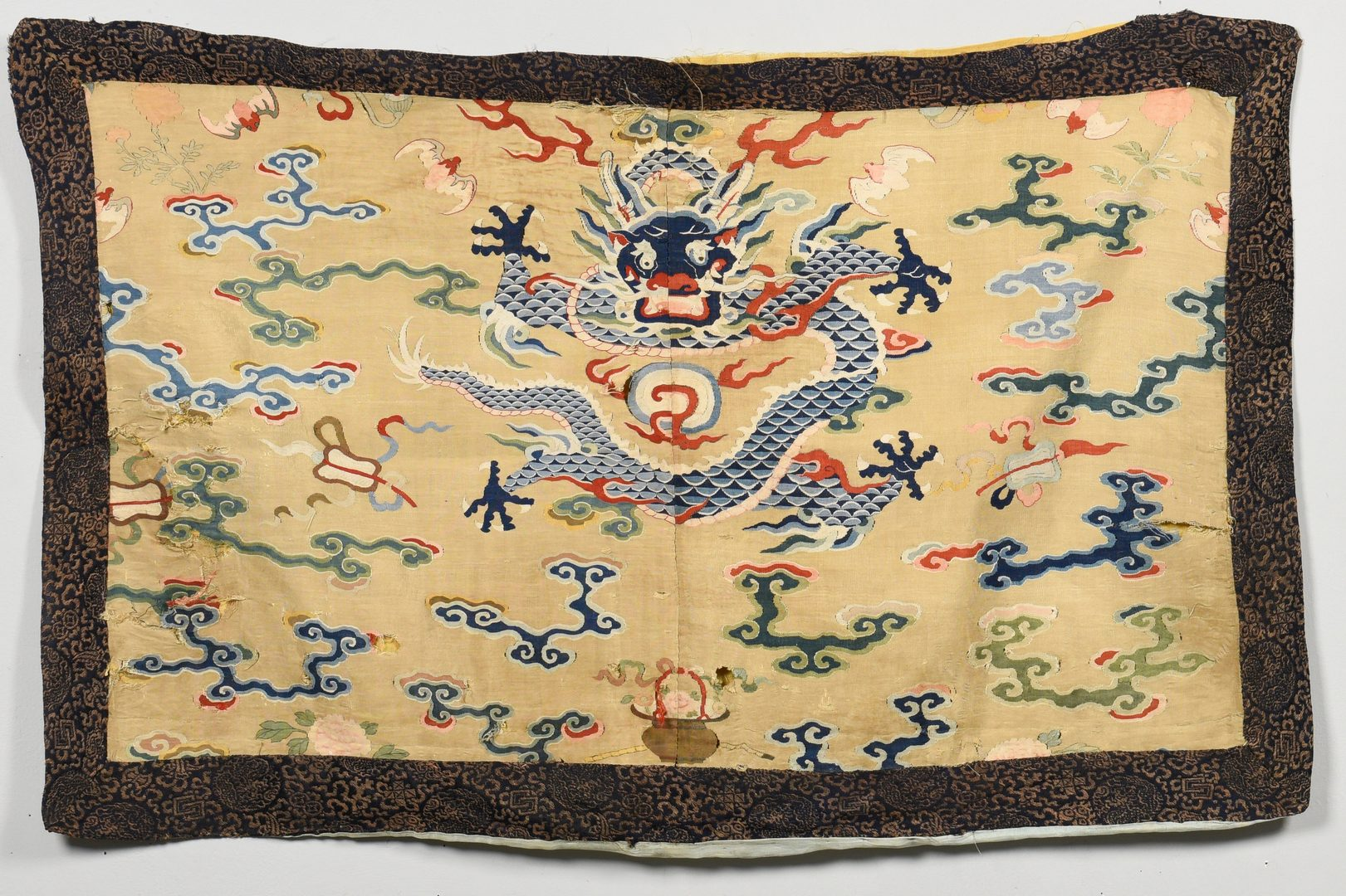 Lot 32: 2 Chinese Silk Textiles- Shawl & Badge