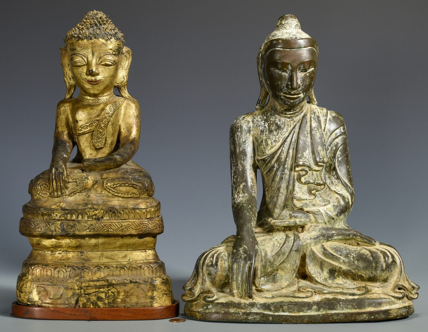 Lot 330: 2 Southeast Asian Buddhas, incl. 1 Bronze