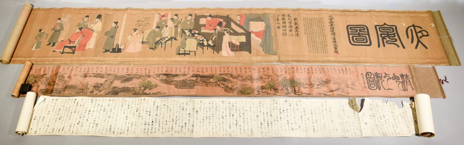 Lot 335: 3  Chinese Panoramic Scrolls