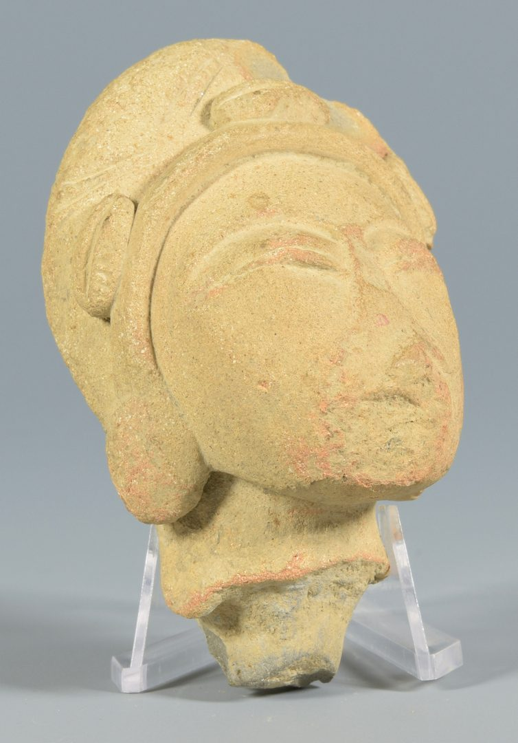 Lot 33: Carved Stone Head plus Jade Beads