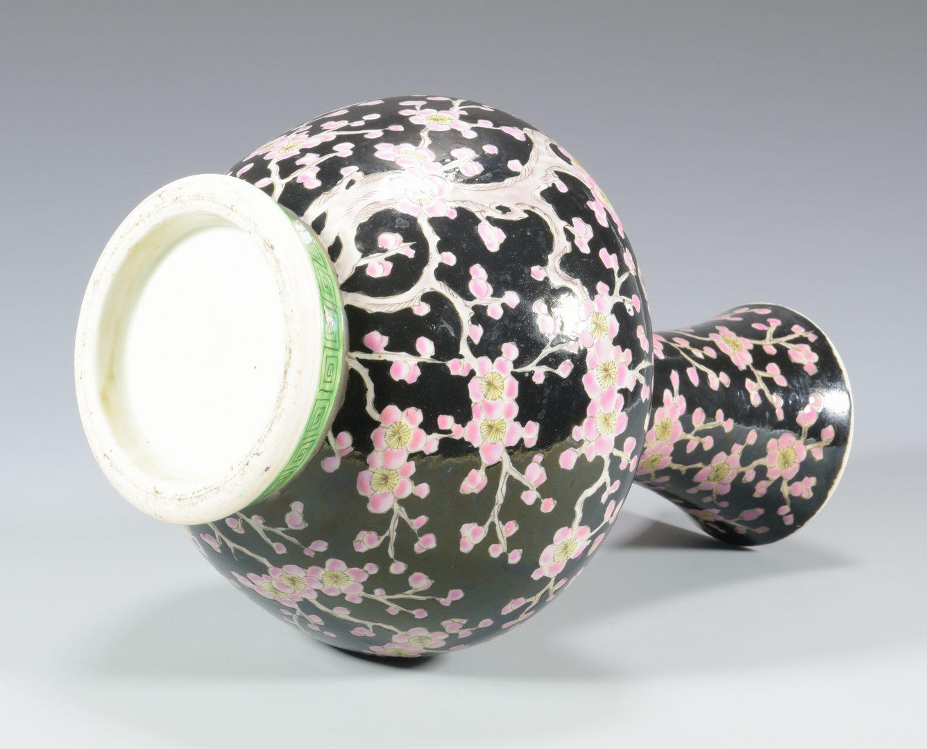 Lot 342: Chinese Famille Noir Porcelain Vase
