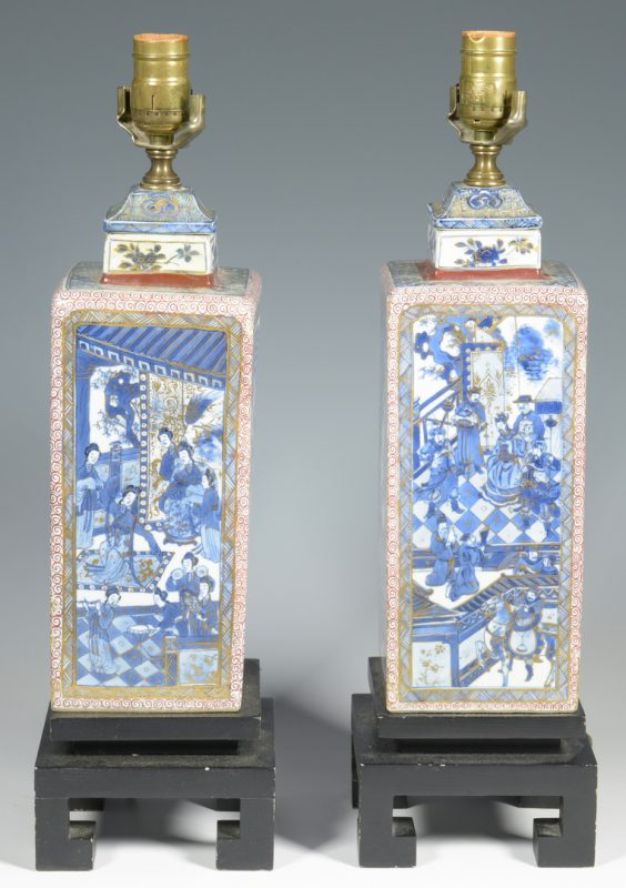 Lot 347: Pair Chinese lamps, Kangxi style