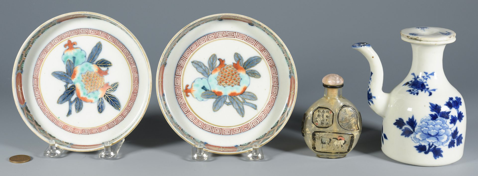Lot 349: Asian Snuff bottle, Imari and Ewer – 3 items