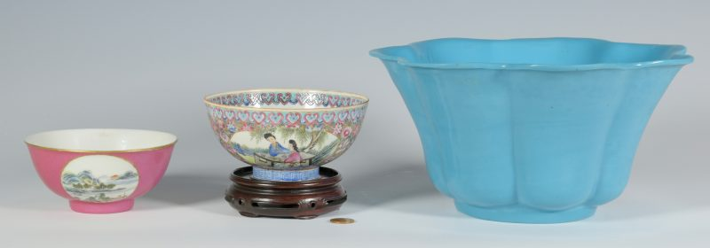 Lot 350: 2 Porcelain Rice Bowls plus Large Peking Glass Bowl