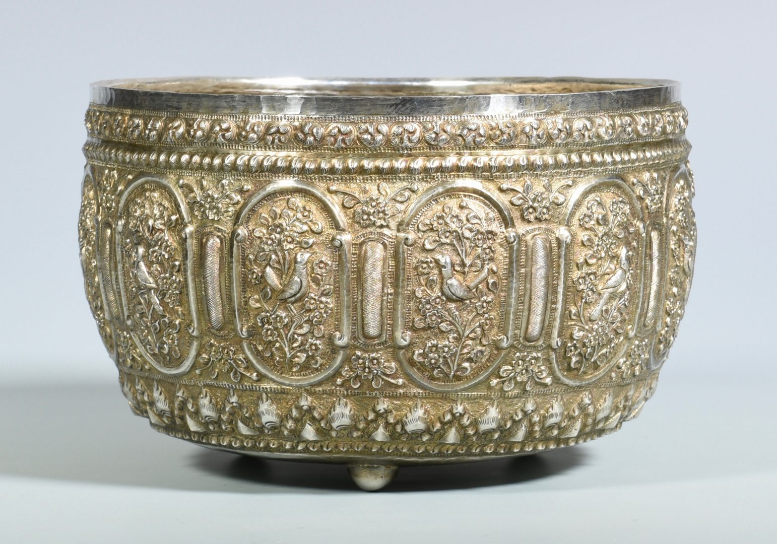 Lot 352: Asian Repousse Silver Bowl
