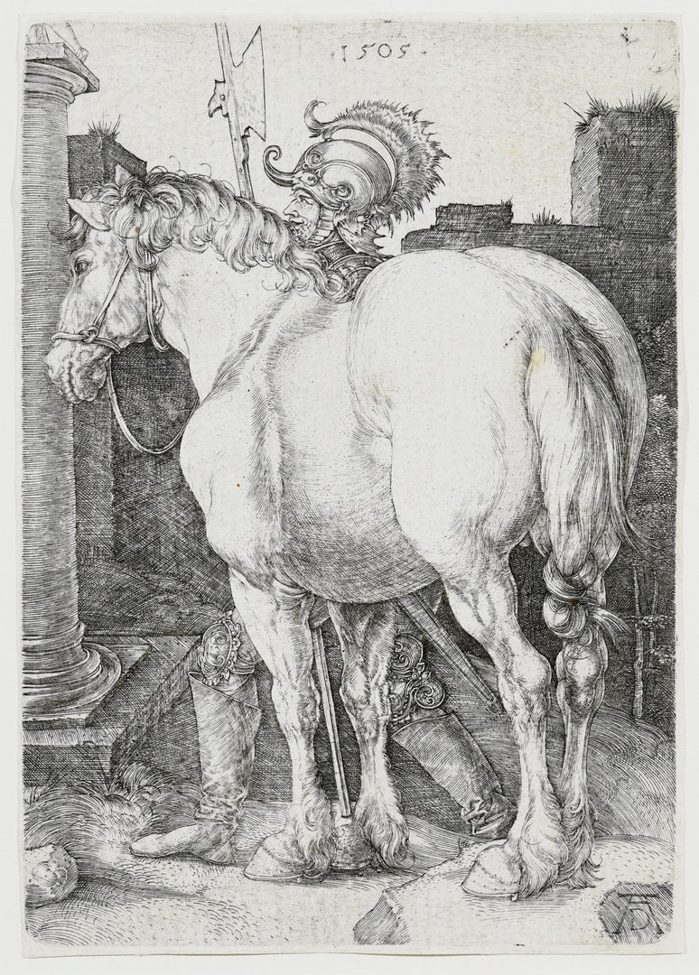 """Lot 357: Albrecht Durer """"The Large Horse"""" engraving"""