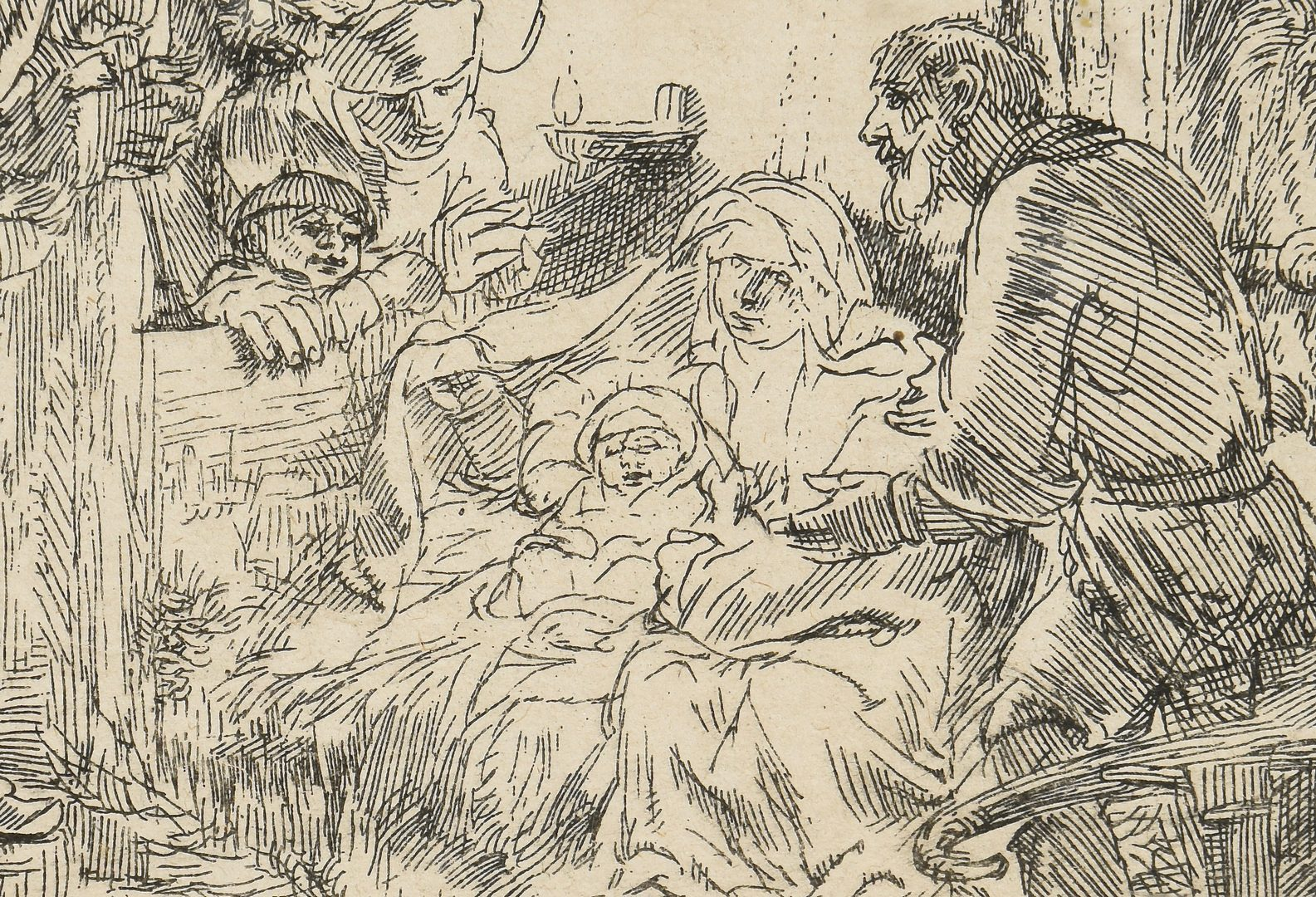 "Lot 358: Rembrandt Etching ""Adoration of the Shepherds"""
