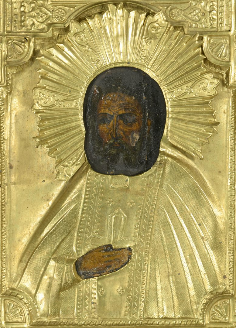 Lot 360: Russian Icon with gilt oklad