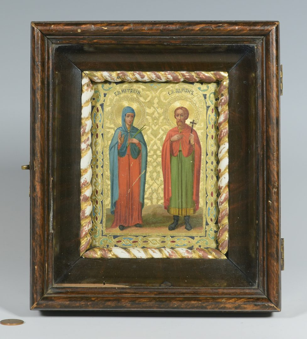 Lot 361: Box Icon with 2 Saints, dated 1898