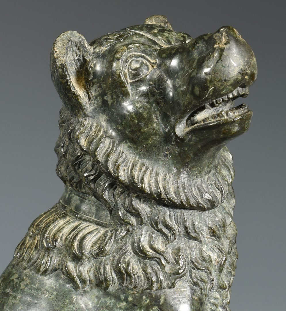 Lot 364: Pr. 19th cent. Variegated Marble Dogs