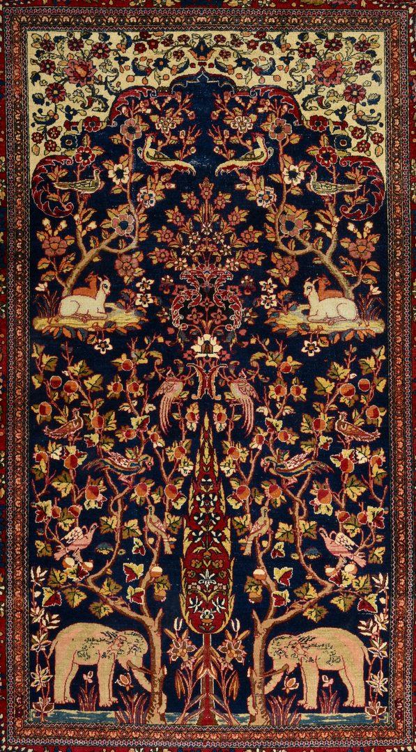 """Lot 368: Vintage Persian Kashan Meditation Rug, 4'6"""" x 7'1"""""""