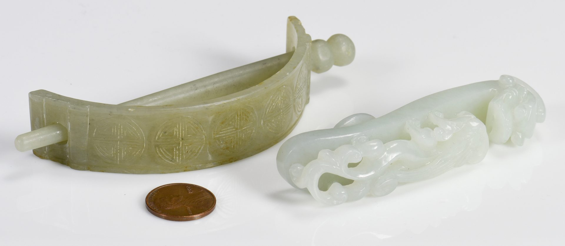 Lot 36: 2 Chinese Jade Items, Belt Hook & Hair Clasp