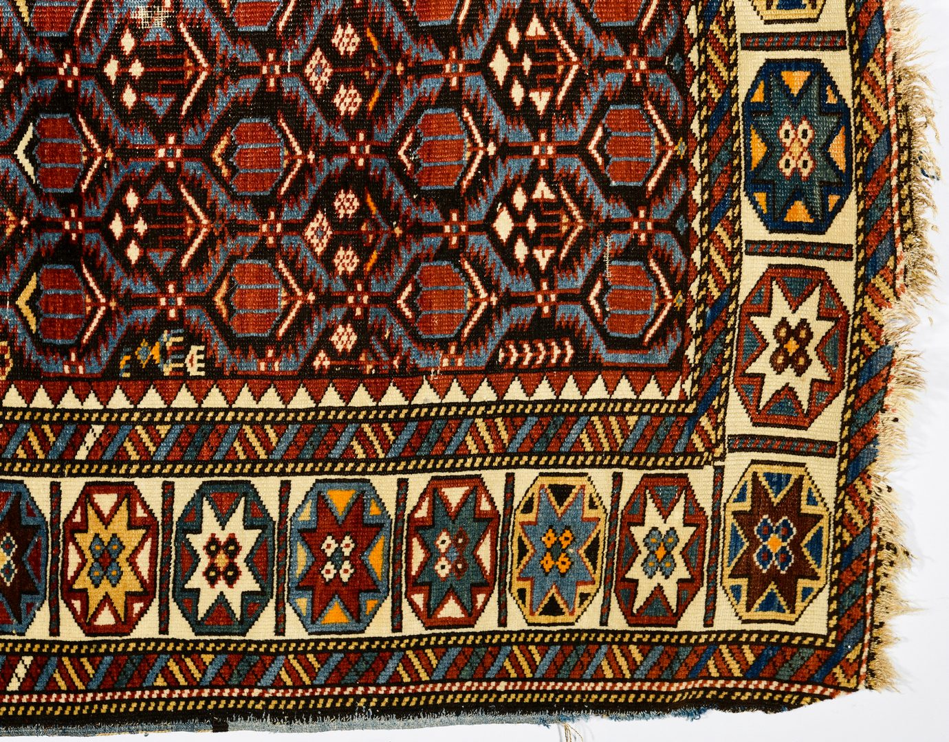 "Lot 374: Antique Persian Kuba area rug, 3'7"" x 5'4"""