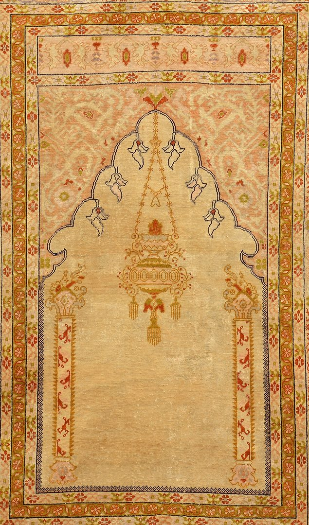 Lot 376: Antique Turkish Silk Prayer Rug, c. 1900