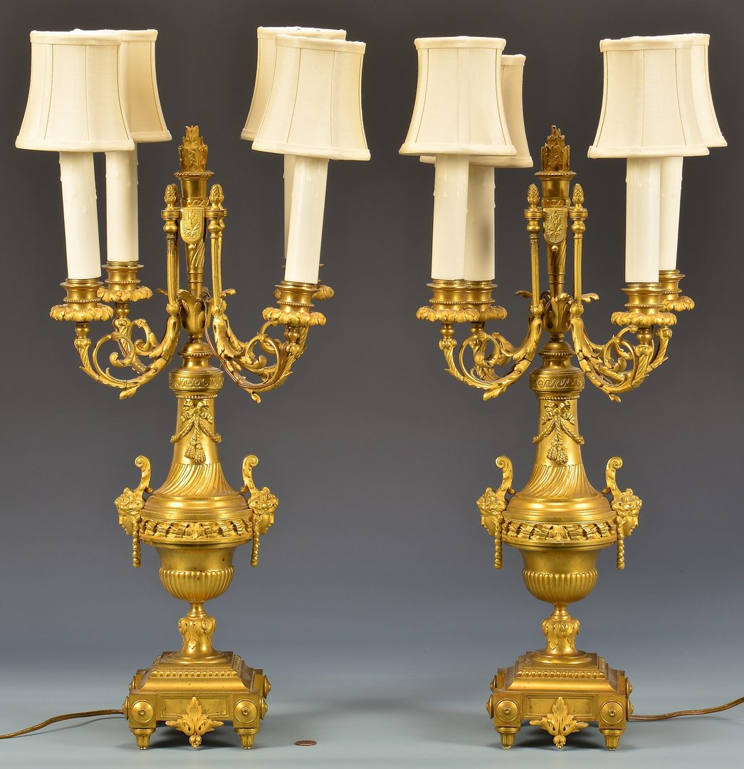 Lot 380: Pr Gilt Bronze Candelabra Lamps