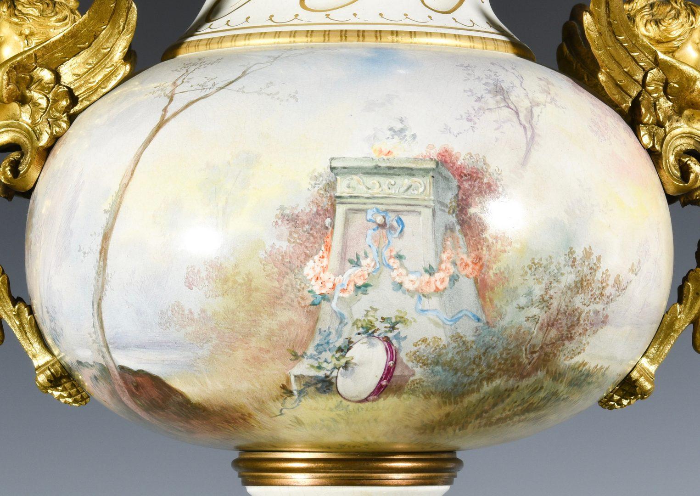 Lot 382: Large Bronze Mounted Porcelain Urn
