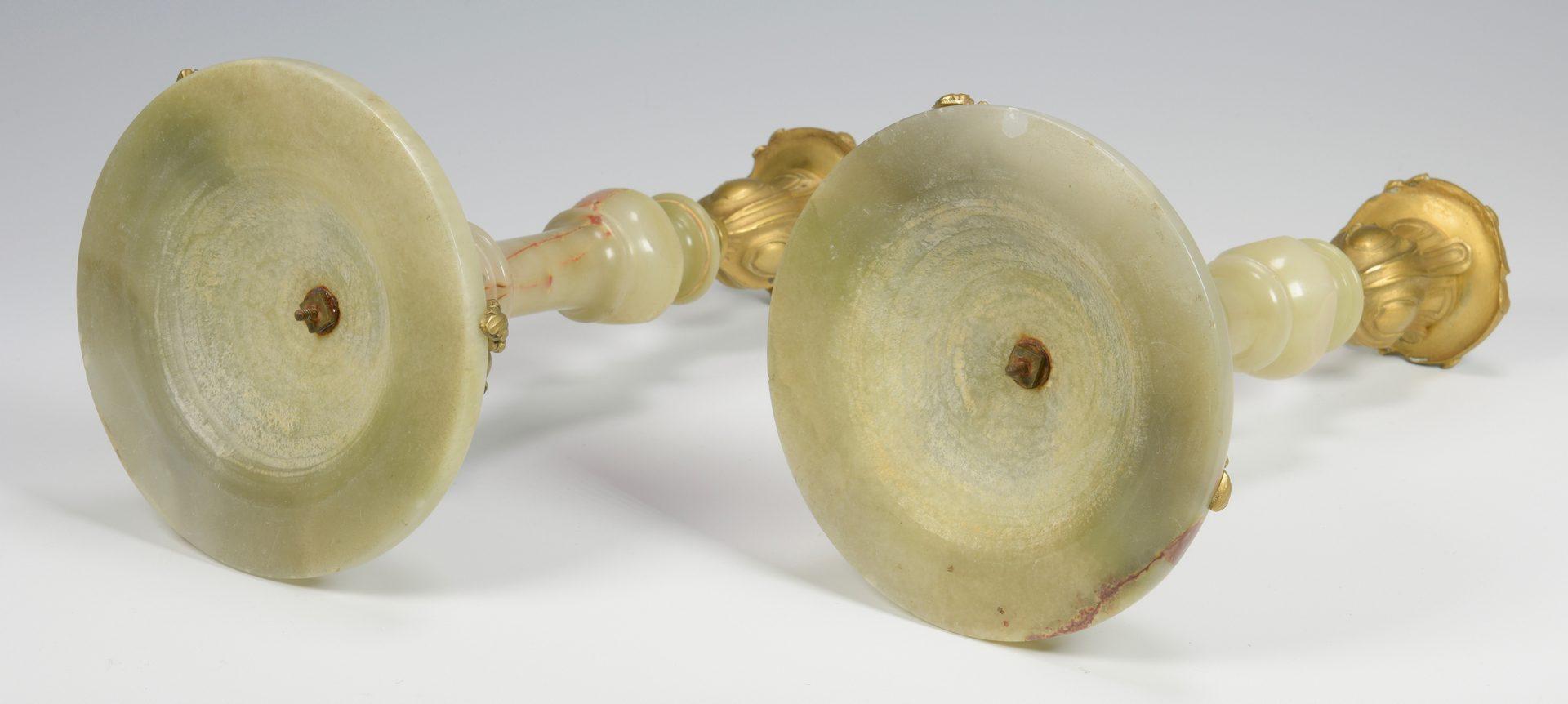 Lot 384: Pr. of Italian Marble & Gilt Bronze Candlesticks