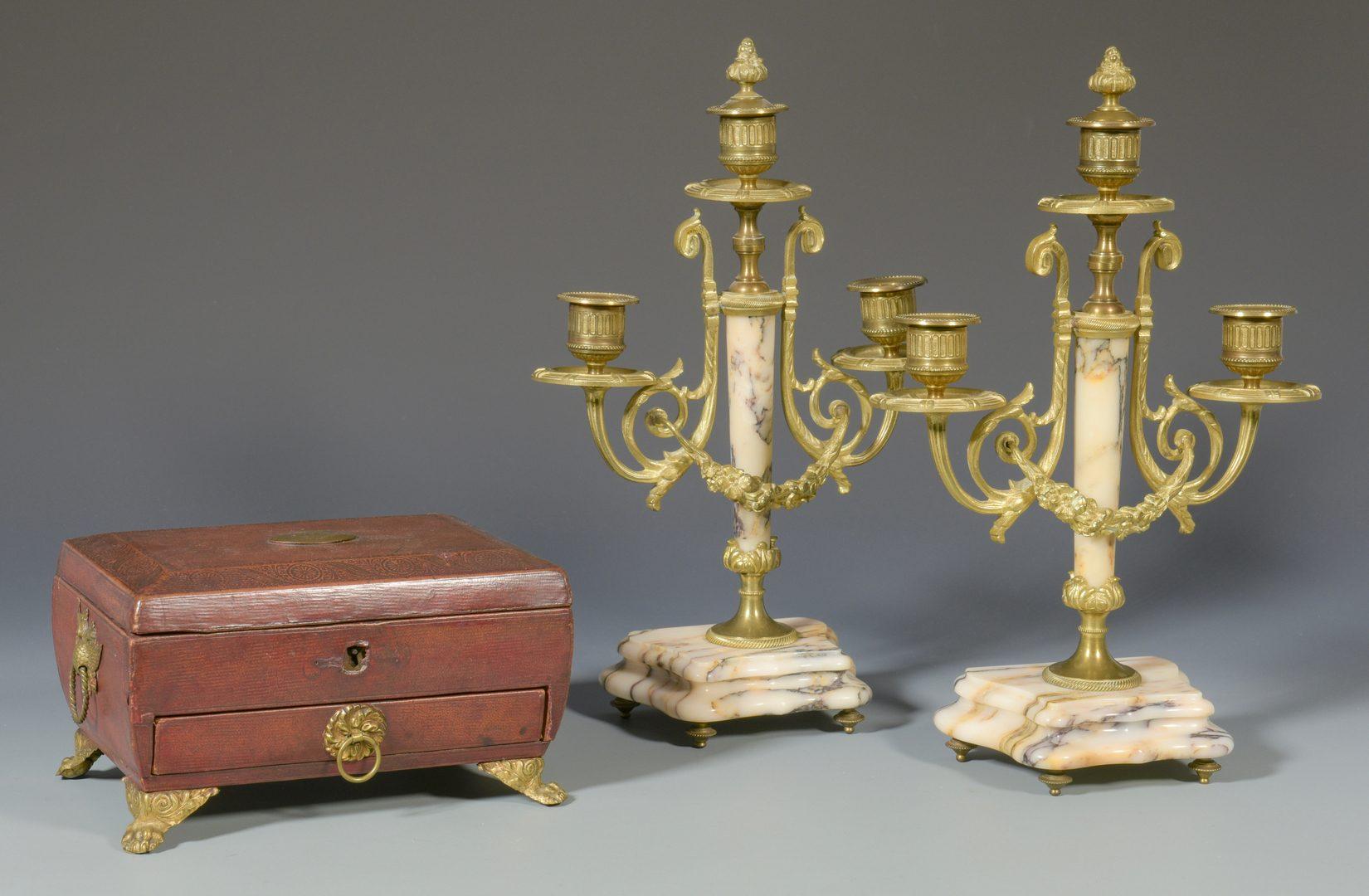 Lot 386: Pr. Candlesticks & Russian Trinket Box