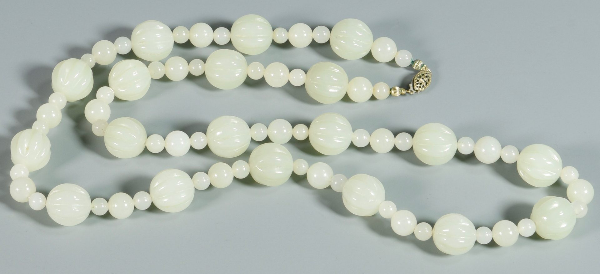 Lot 38: Chinese Celadon Beaded Jade Necklace