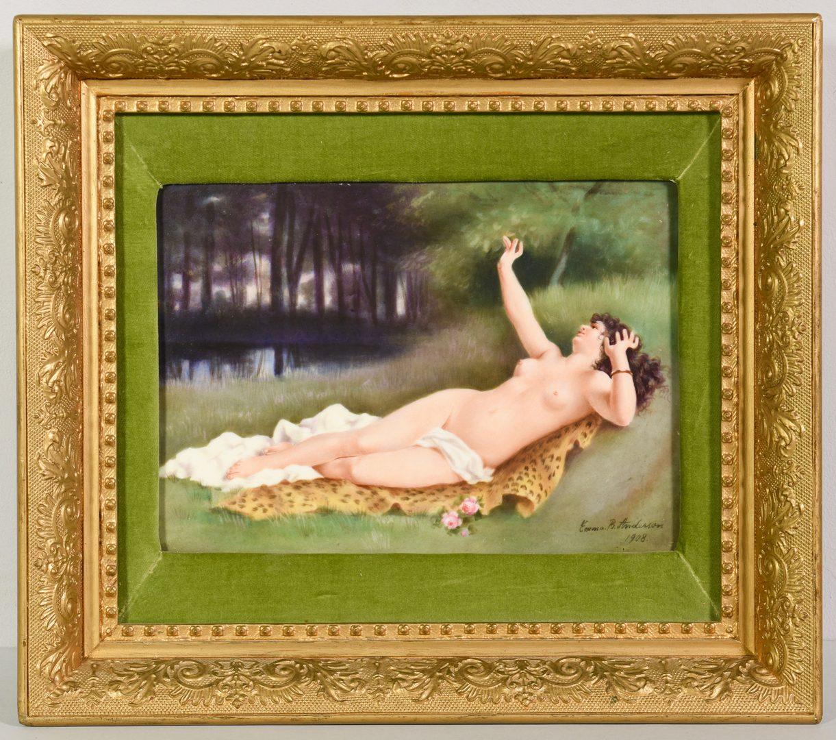 Lot 392: Signed Porcelain Plaque, Nude on Leopard Rug